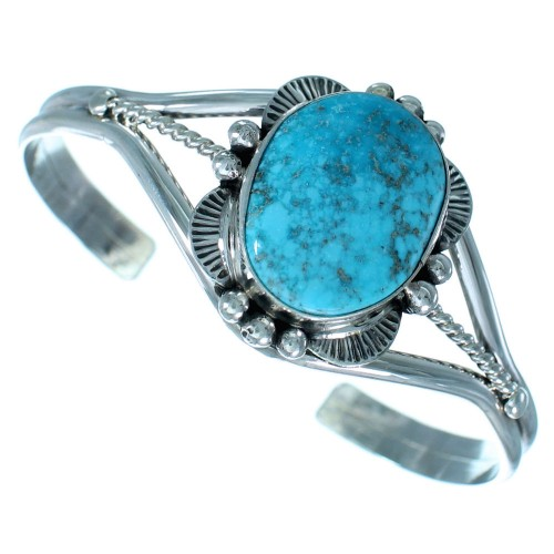 Sterling Silver Kingman Turquoise Navajo Indian Cuff Bracelet RX111671