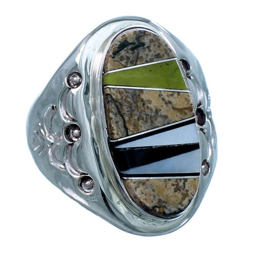 Navajo Sterling Silver Multicolor Inlay Ring Size 9 LX112738