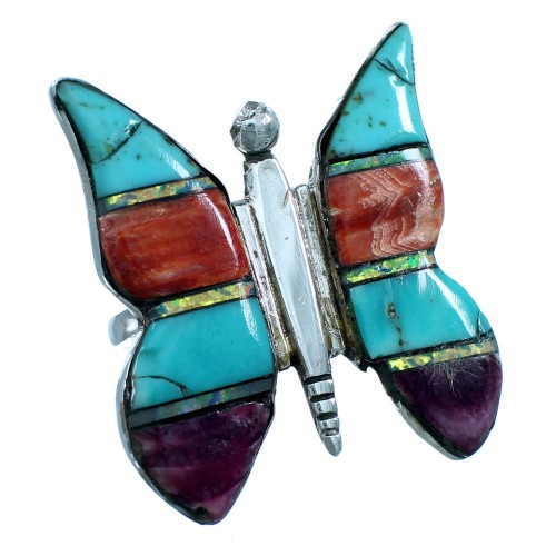 Genuine Sterling Silver And Multicolor Butterfly Southwestern Ring Size 8-1/4 RX112890
