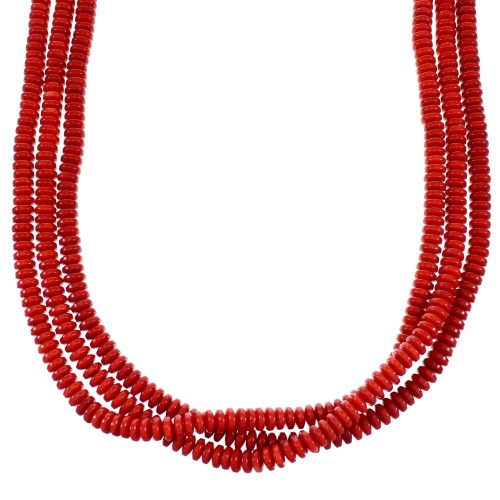 3-Strand Navajo Coral Sterling Silver Bead Necklace SX112676