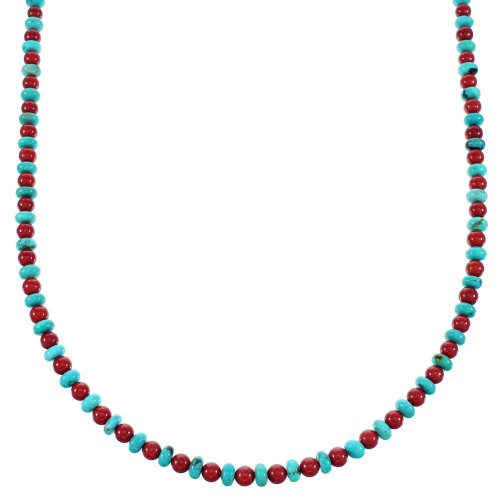 Navajo Turquoise And Coral Sterling Silver Bead Necklace SX112664