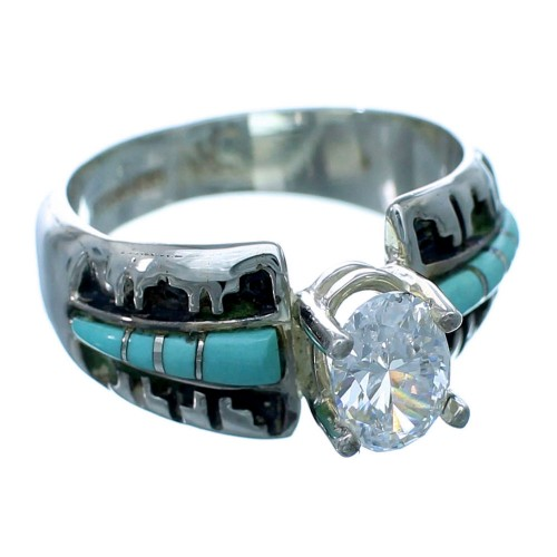 Turquoise Inlay Sterling Silver Southwestern Cubic Zirconia Ring Size 6-1/2 LX113101