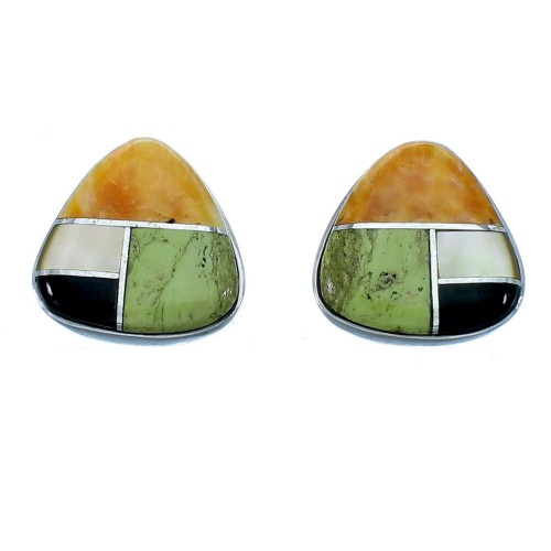 Genuine Sterling Silver Multicolor Inlay Post Earrings LX113006