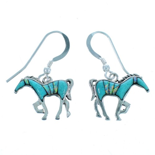 Sterling Silver Turquoise And Opal Southwest Horse Hook Dangle Earrings SX113166