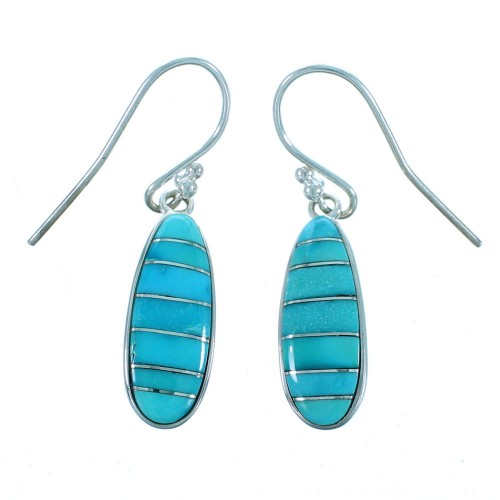 Turquoise Inlay And Sterlig Silver Southwestern Hook Dandgle Earrings SX113078