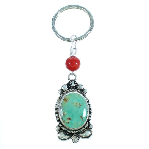 Authentic Sterling Silver Turquoise Coral  Key Chain RX113183