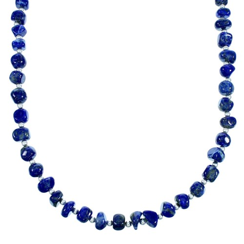 Sterling Silver Navajo Lapis Bead Necklace RX113194