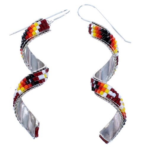Authentic Sterling Silver Multicolor Spiral Beaded American Indian Hook Dangle Earrings RX113826