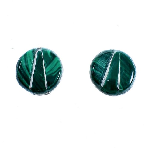 Genuine Sterling Silver Malachite Inlay Zuni Indian Post Stud Earrings LX114036