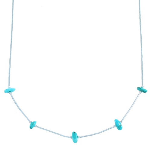 Genuine Sterling Liquid Silver Turquoise Bead Necklace RX114278