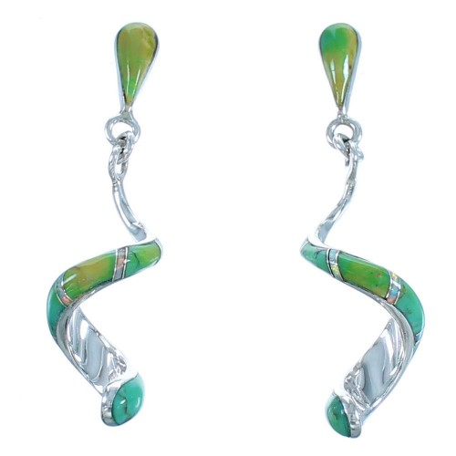 Sterling Silver Turquoise And Opal Spiral Post Dangle Earrings SX114362