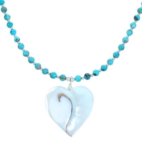 Turquoise Mother Of Pearl Heart Sterling Silver Bead Necklace RX114459