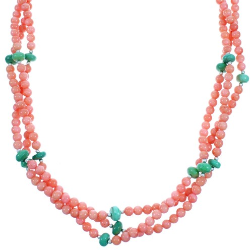 Pink Coral And Turquoise Sterling Silver 3-Strand Twisted Bead Necklace SX114527