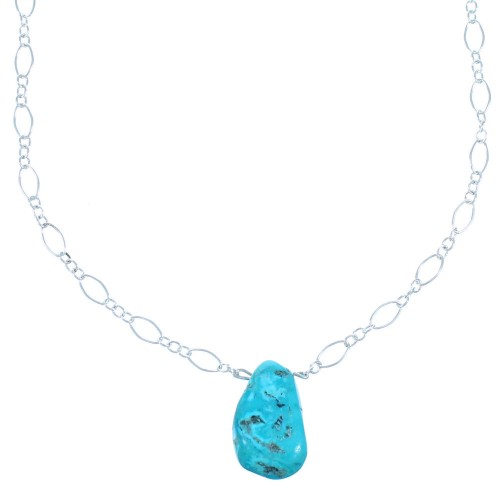Turquoise And Sterling Silver Chain Necklace SX114674
