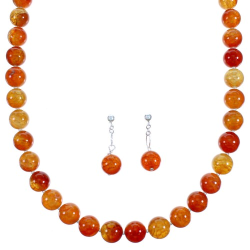 Fire Agate Sterling Silver Bead Necklace And Earrings Set RX114676