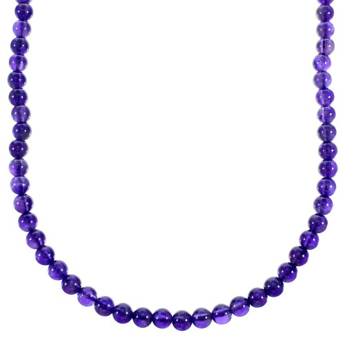 Southwest Amethyst Authentic Sterling Silver Bead Necklace RX114759