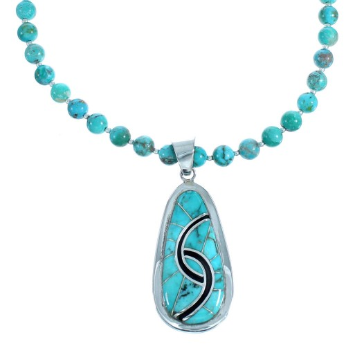 Turquoise And Genuine Sterling Silver Bead Necklace And Pendant Set SX115056