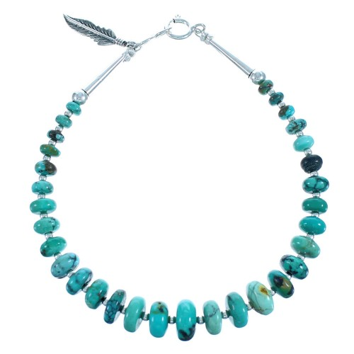 Southwest Sterling Silver And Turquoise Feather Bead Bracelet BX115749
