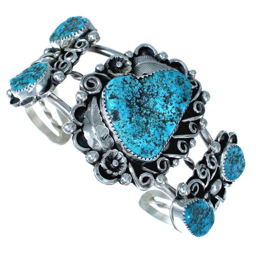 Sterling Silver Flower Native American Turquoise Cuff Bracelet ZX116034
