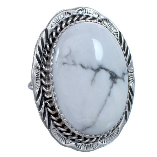 Sterling Silver Native American Howlite Ring Size 8 BX119180