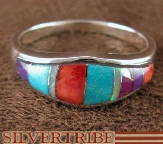 Turquoise Multicolor Jewelry Sterling Silver Ring Size 6-3/4 NS35935