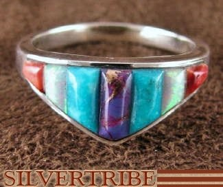Turquoise Multicolor Inlay Sterling Silver Ring Size 6-3/4 NS36002