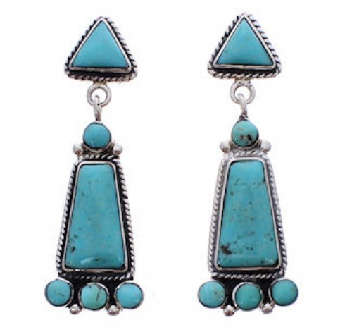 Sterling Silver Turquoise Post Dangle Earrings FX31225