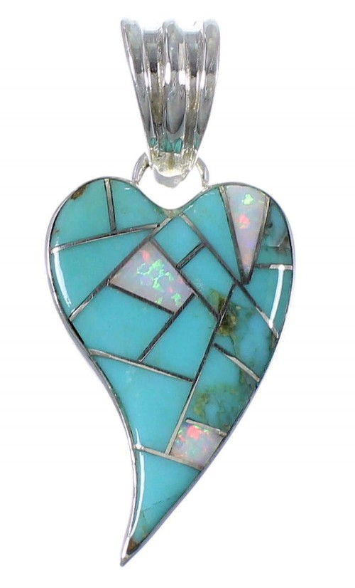 Sterling Silver Turquoise Opal Inlay Heart Pendant RX102075