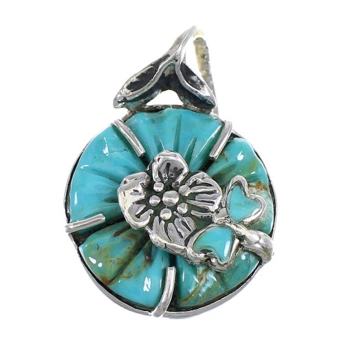 Sterling Silver Turquoise Flower And Dragonfly Pendant RX102080