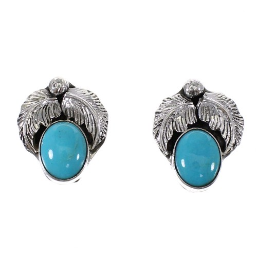 Turquoise And Sterling Silver Native American Post Earrings RX98600