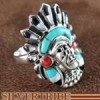 Multicolor Turquoise Silver Chief Head Ring Size 8-1/2 NS43055