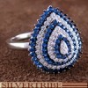 Blue White Cubic Zirconia Sterling Silver Ring Size 7-3/4 AS54988