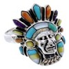 Multicolor Turquoise Silver Chief Head Ring Size 9-1/2 Jewelry NS43152