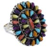 Multicolor Authentic Sterling Silver Southwest Ring Size 6 AX37856