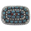 Turquoise And Coral Needlepoint Sterling Silver Belt Buckle EX48772