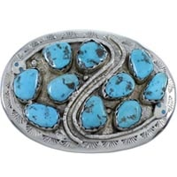 Native American Multiple  Stone Belt Buckle